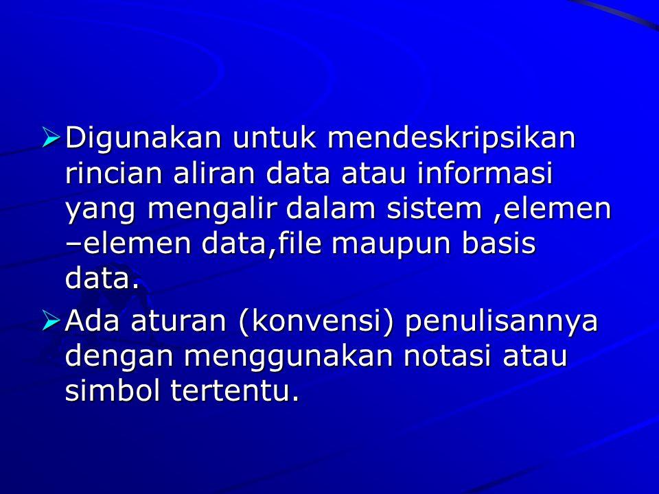Digunakan untuk mendeskripsikan rincian aliran data atau informasi yang mengalir dalam sistem ,elemen –elemen data,file maupun basis data.