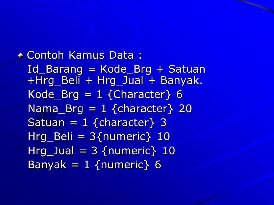 Contoh Kamus Data : Id_Barang = Kode_Brg + Satuan +Hrg_Beli + Hrg_Jual + Banyak. Kode_Brg = 1 {Character} 6.