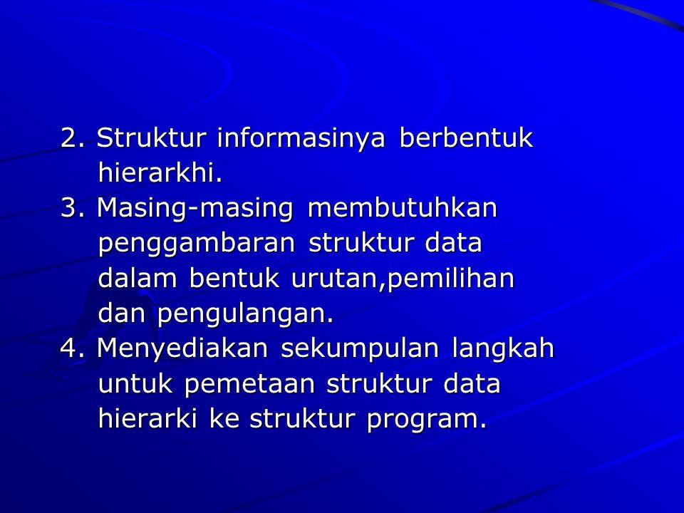2. Struktur informasinya berbentuk