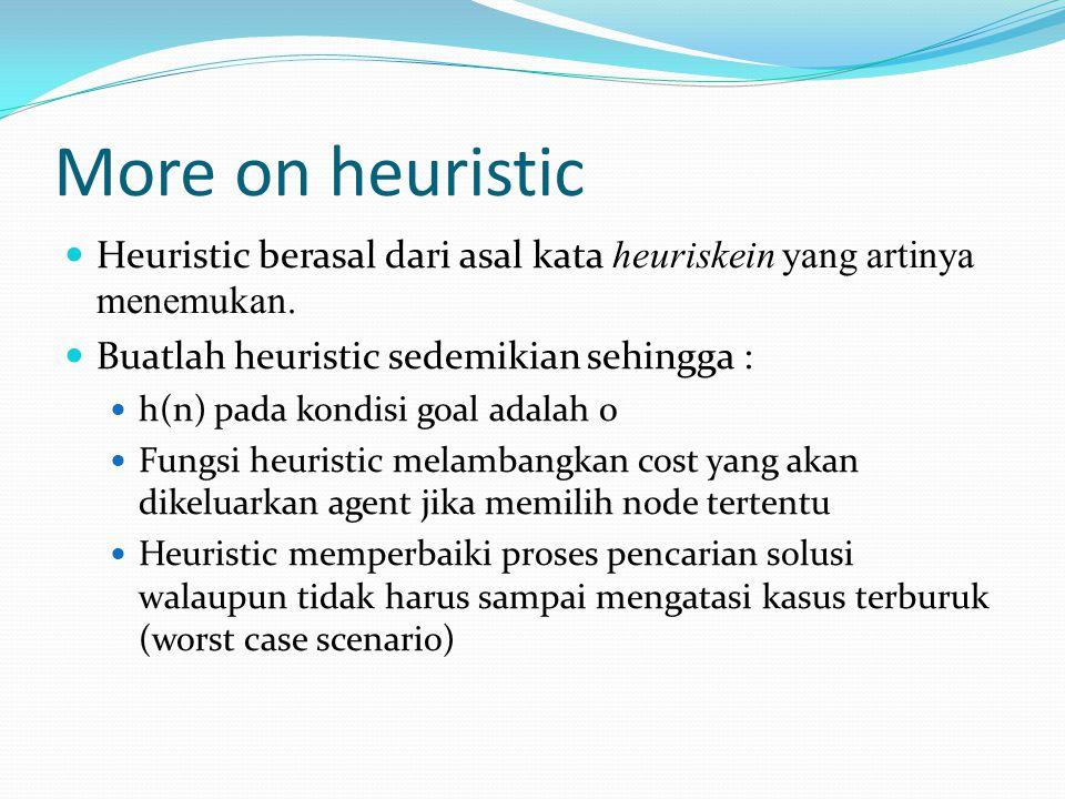 More on heuristic Heuristic berasal dari asal kata heuriskein yang artinya menemukan. Buatlah heuristic sedemikian sehingga :