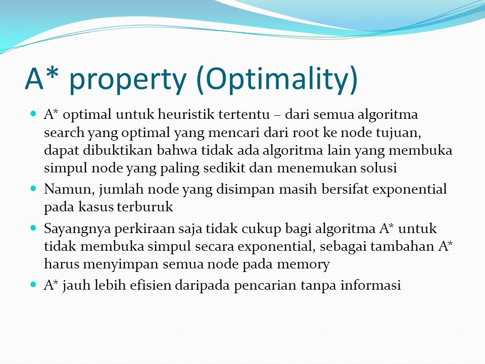 A* property (Optimality)