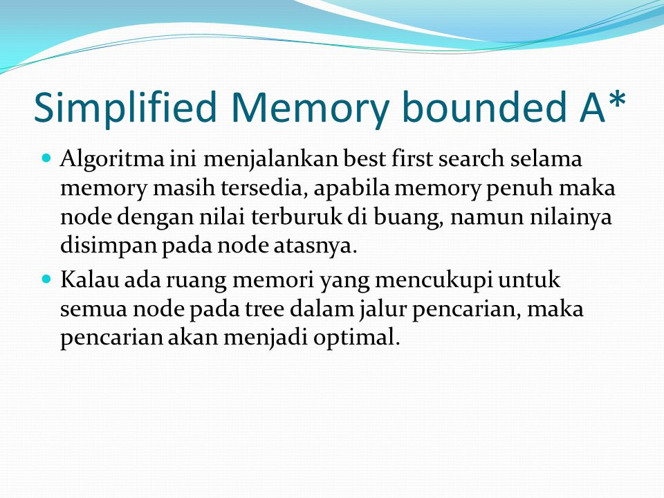 Simplified Memory bounded A*