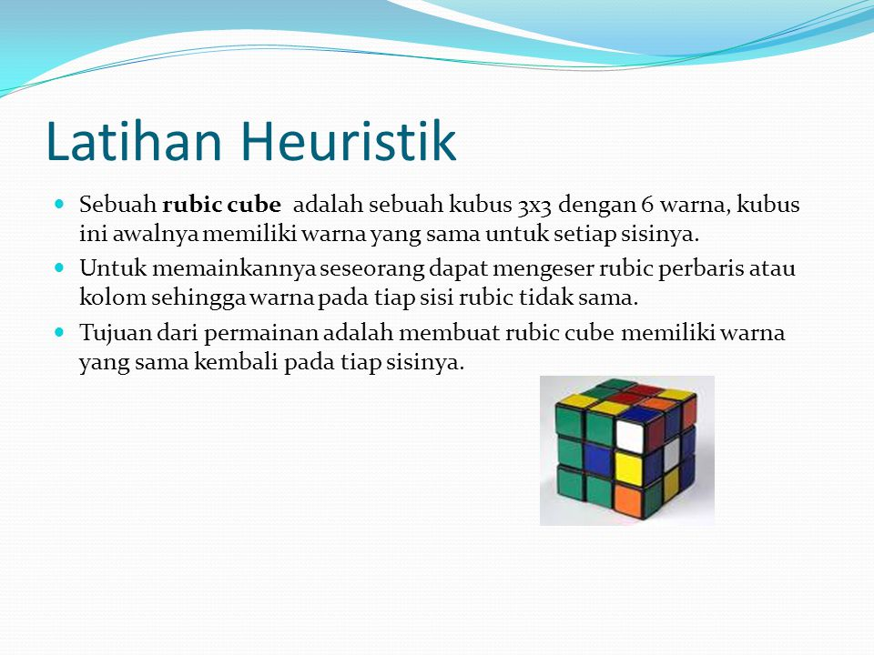 Latihan Heuristik Sebuah rubic cube adalah sebuah kubus 3x3 dengan 6 warna, kubus ini awalnya memiliki warna yang sama untuk setiap sisinya.
