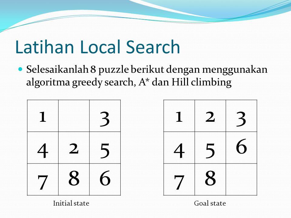 Latihan Local Search Selesaikanlah 8 puzzle berikut dengan menggunakan algoritma greedy search, A* dan Hill climbing.