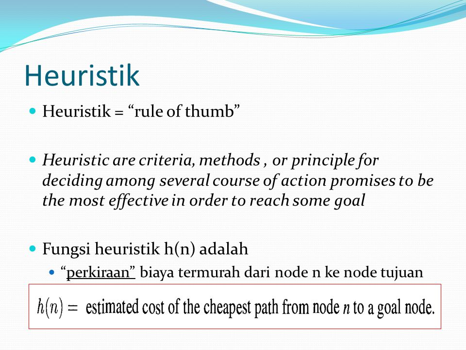 Heuristik Heuristik = rule of thumb