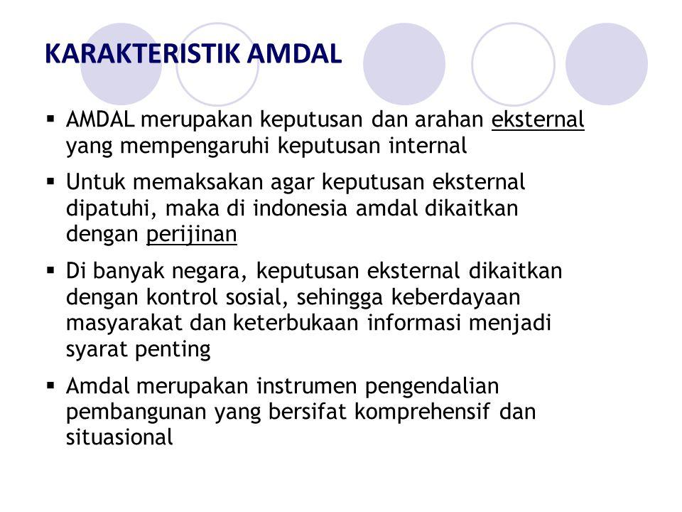 KARAKTERISTIK AMDAL AMDAL merupakan keputusan dan arahan eksternal yang mempengaruhi keputusan internal.