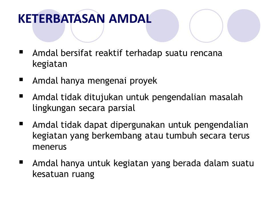 KETERBATASAN AMDAL Amdal bersifat reaktif terhadap suatu rencana kegiatan. Amdal hanya mengenai proyek.