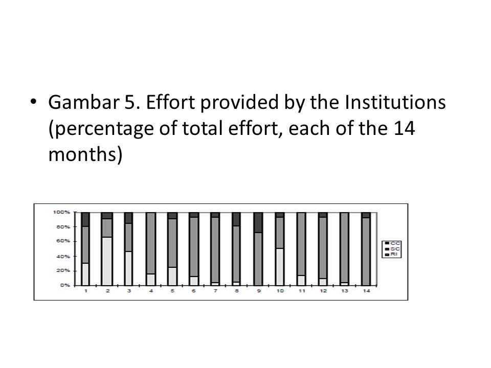 Gambar 5. Effort provided by the Institutions (percentage of total effort, each of the 14 months)