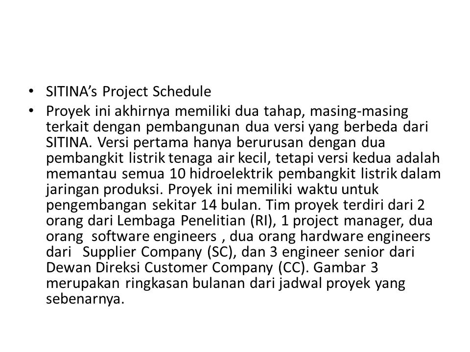 SITINA's Project Schedule