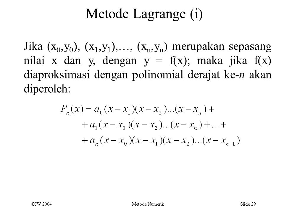 Metode Lagrange (i)