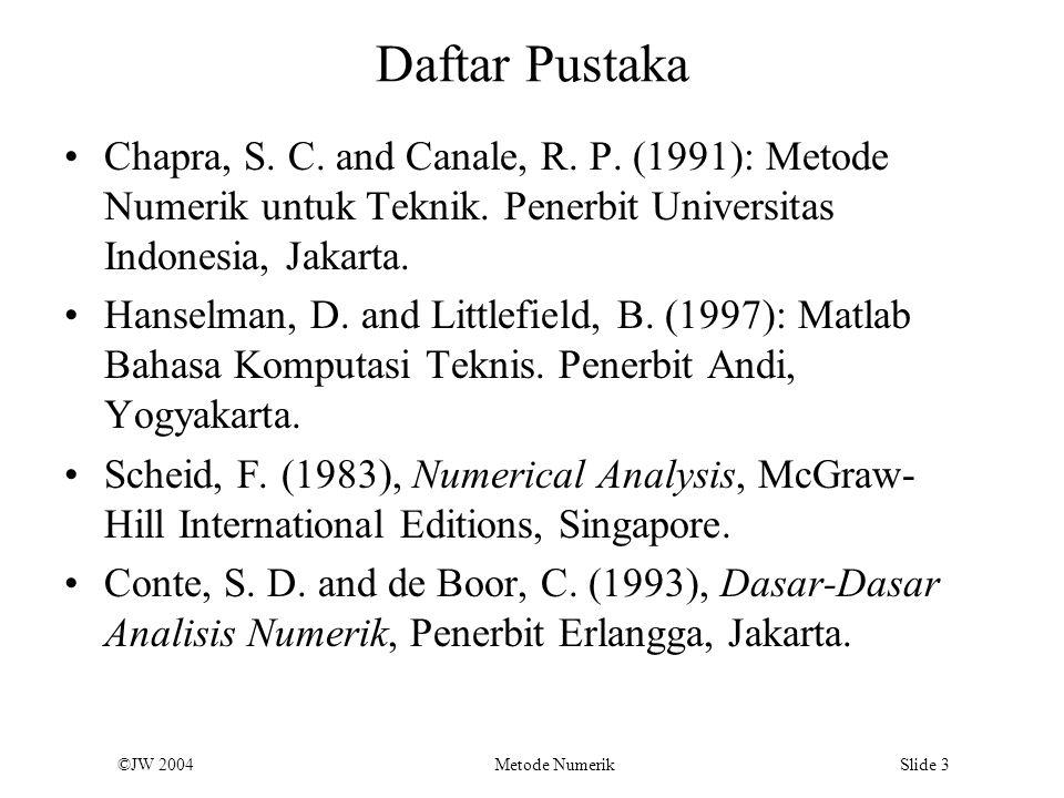 Daftar Pustaka Chapra, S. C. and Canale, R. P. (1991): Metode Numerik untuk Teknik. Penerbit Universitas Indonesia, Jakarta.