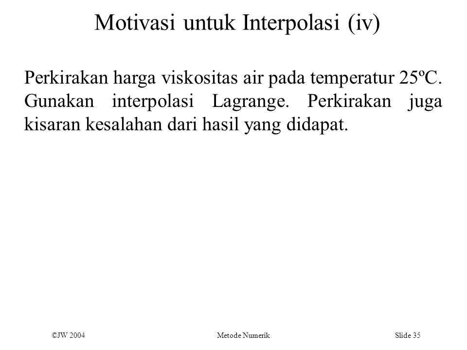 Motivasi untuk Interpolasi (iv)