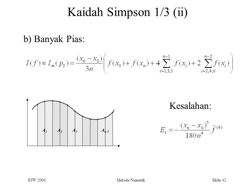 Kaidah Simpson 1/3 (ii) b) Banyak Pias: Kesalahan: A1 A3 A5 An-1