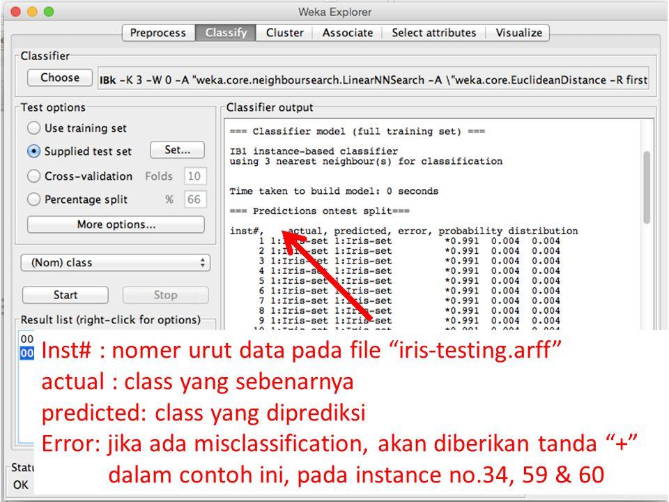 Inst# : nomer urut data pada file iris-testing