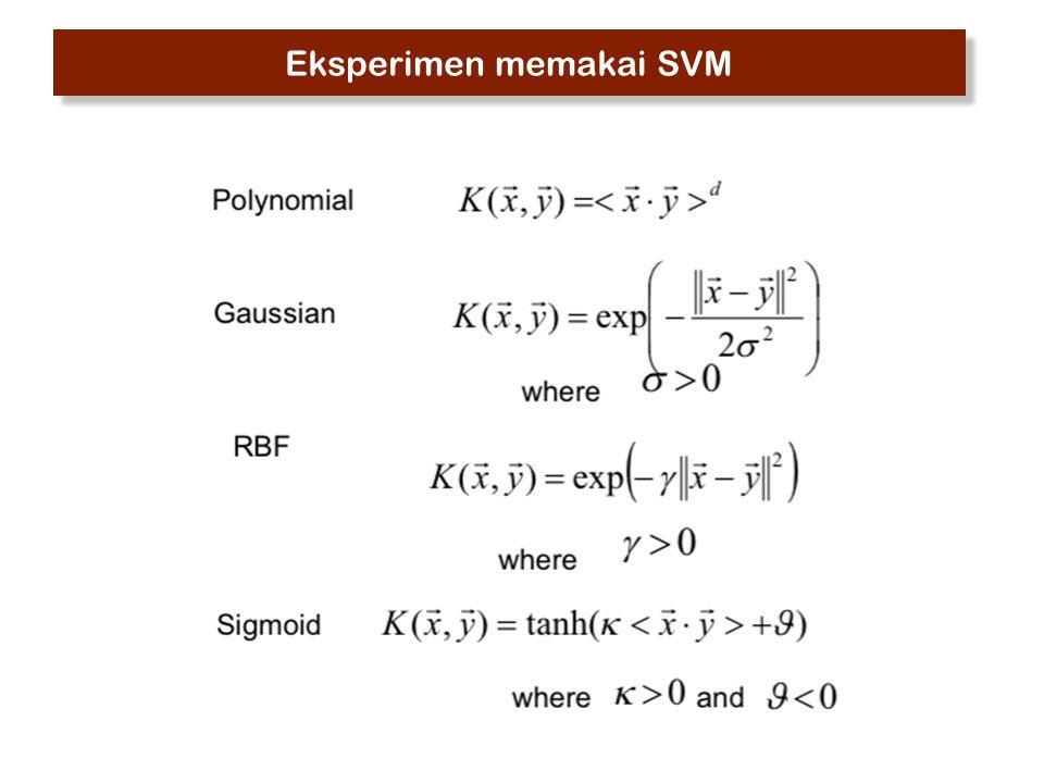 Eksperimen memakai SVM