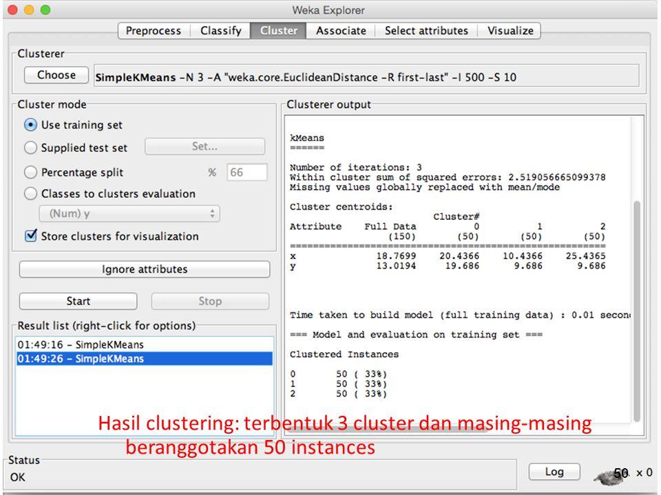 Hasil clustering: terbentuk 3 cluster dan masing-masing beranggotakan 50 instances