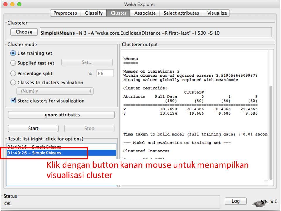 Klik dengan button kanan mouse untuk menampilkan visualisasi cluster
