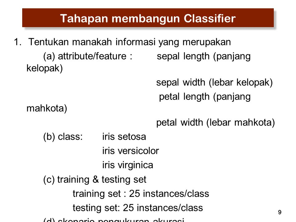 Tahapan membangun Classifier