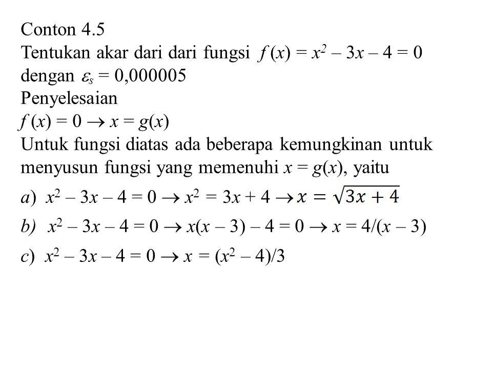 Conton 4.5 Tentukan akar dari dari fungsi f (x) = x2 – 3x – 4 = 0. dengan s = 0,000005. Penyelesaian.