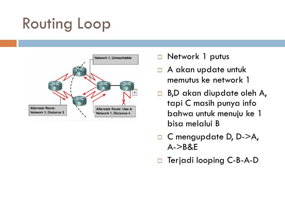 Routing Loop Network 1 putus A akan update untuk memutus ke network 1