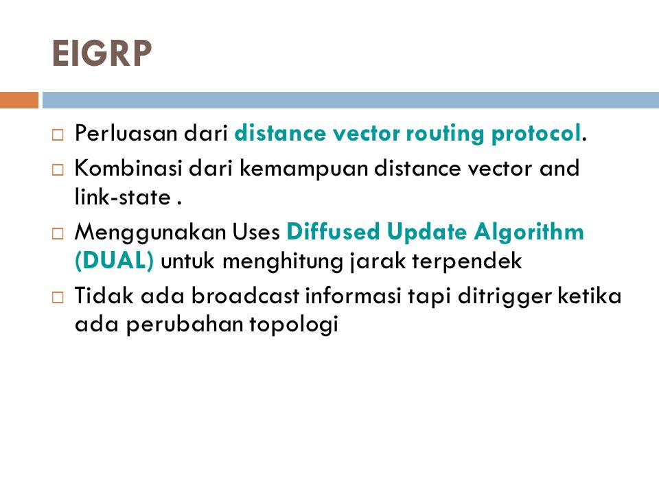 EIGRP Perluasan dari distance vector routing protocol.