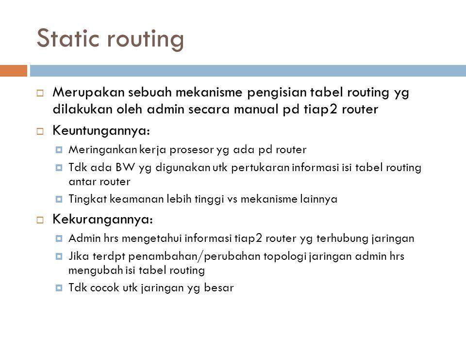 Static routing Merupakan sebuah mekanisme pengisian tabel routing yg dilakukan oleh admin secara manual pd tiap2 router.