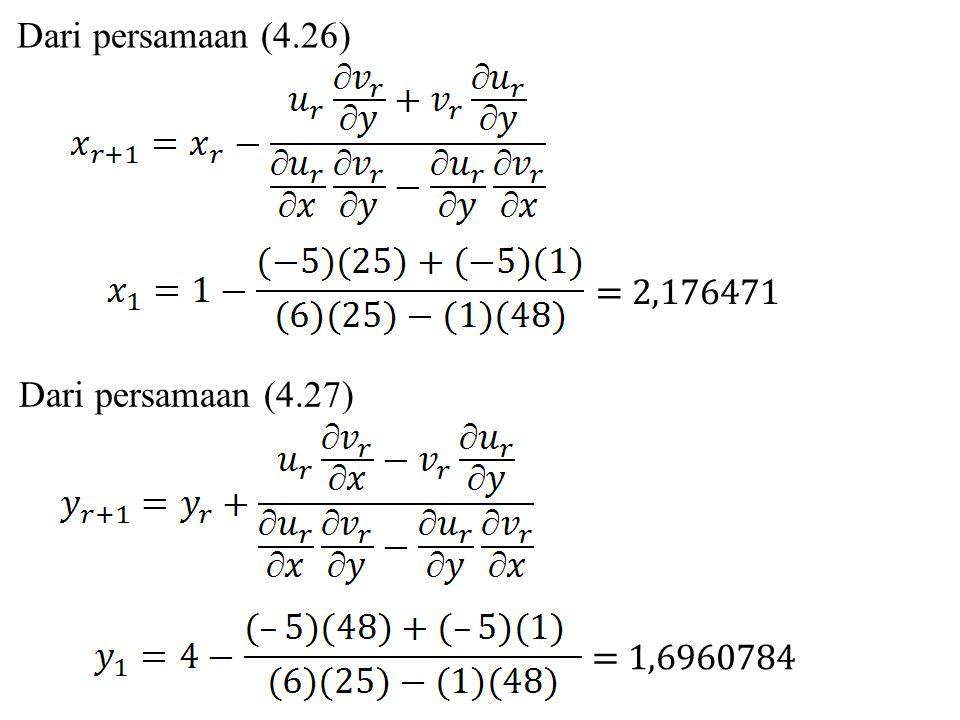 Dari persamaan (4.26) = 2,176471 Dari persamaan (4.27) = 1,6960784
