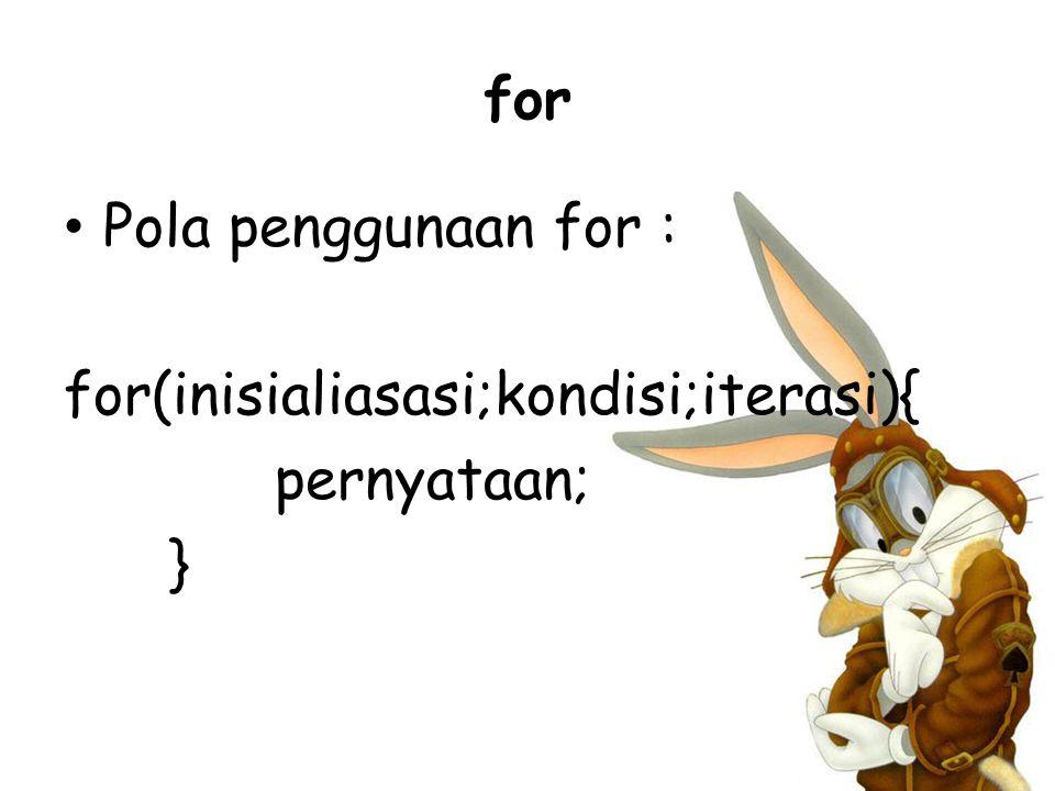 for Pola penggunaan for : for(inisialiasasi;kondisi;iterasi){ pernyataan; }