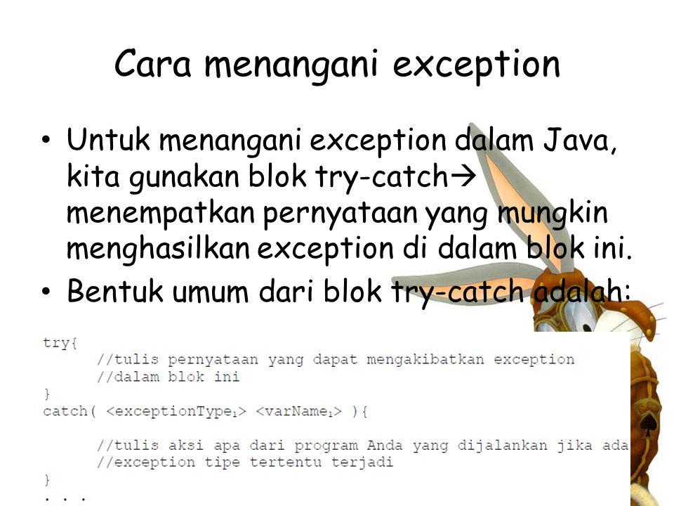 Cara menangani exception