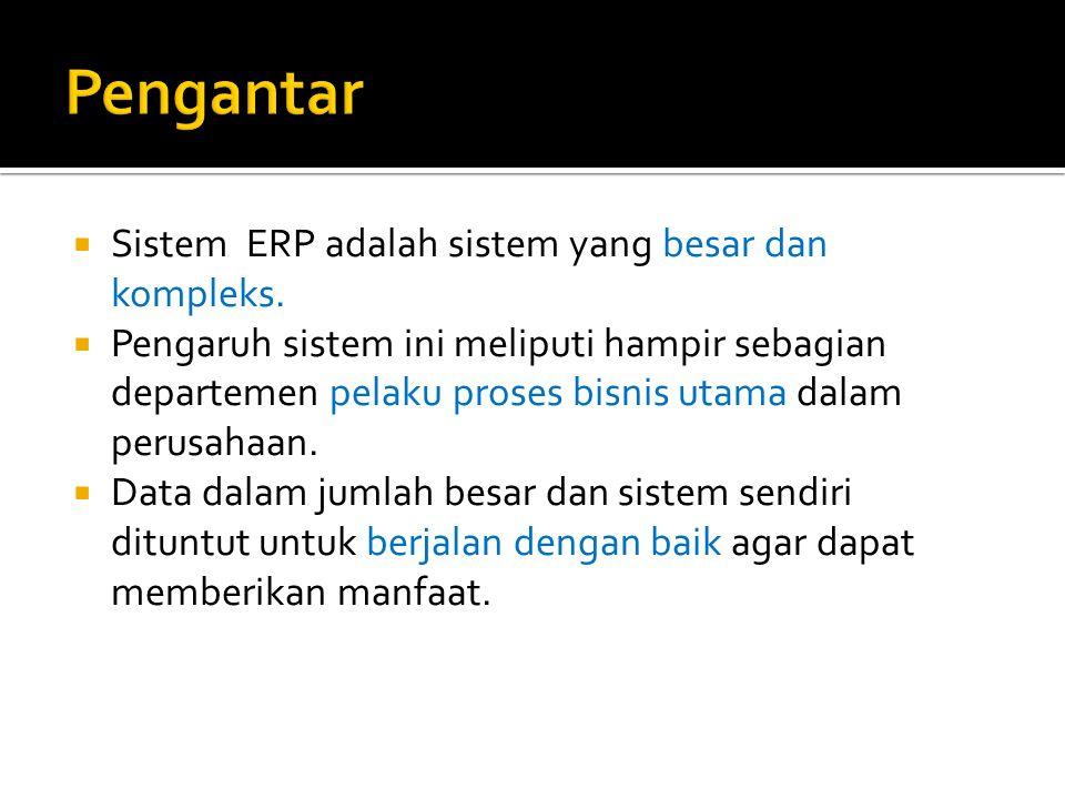 Pengantar Sistem ERP adalah sistem yang besar dan kompleks.