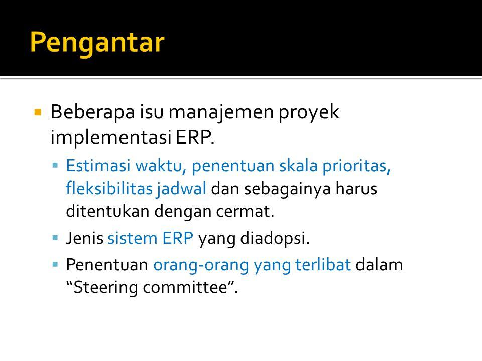 Pengantar Beberapa isu manajemen proyek implementasi ERP.
