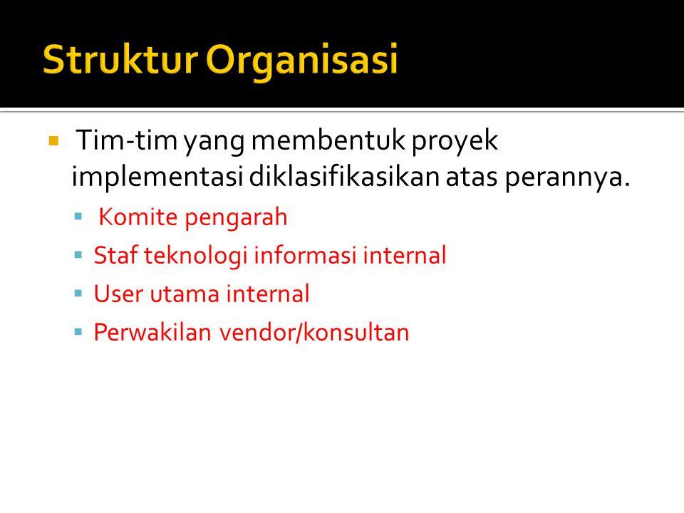 Struktur Organisasi Tim-tim yang membentuk proyek implementasi diklasifikasikan atas perannya. Komite pengarah.