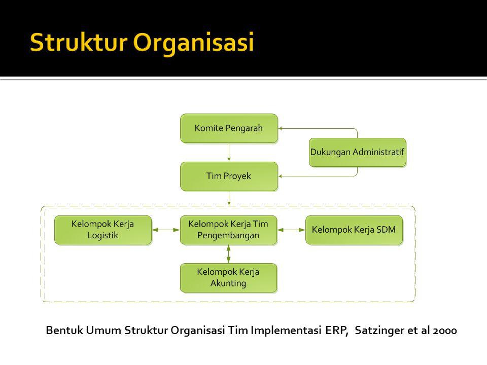 Struktur Organisasi Bentuk Umum Struktur Organisasi Tim Implementasi ERP, Satzinger et al 2000