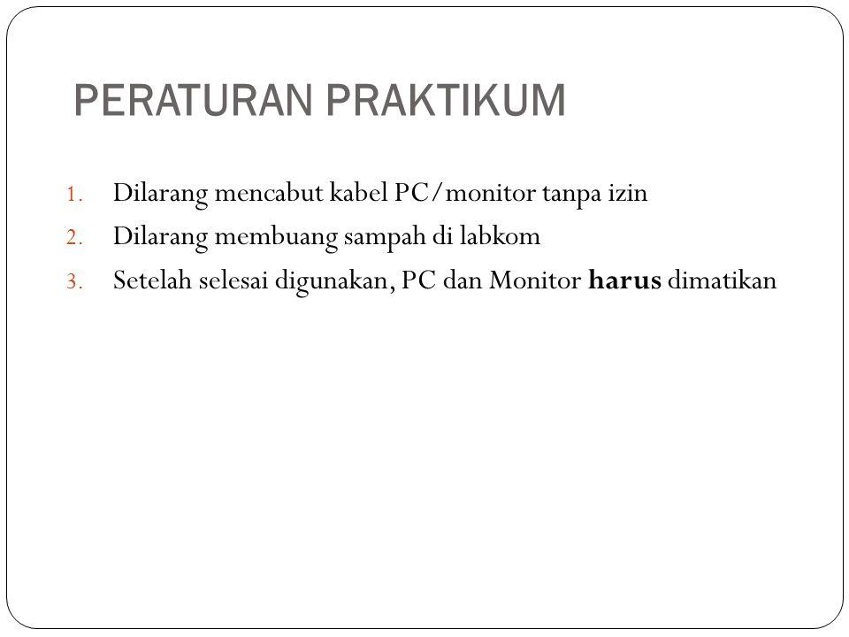 PERATURAN PRAKTIKUM Dilarang mencabut kabel PC/monitor tanpa izin