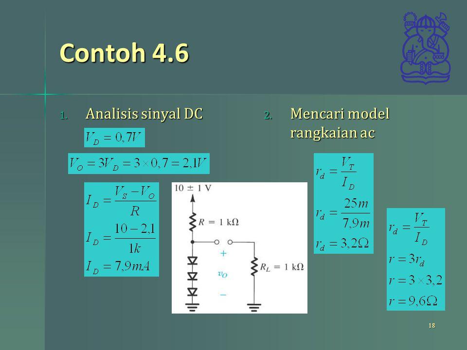 Contoh 4.6 Analisis sinyal DC Mencari model rangkaian ac