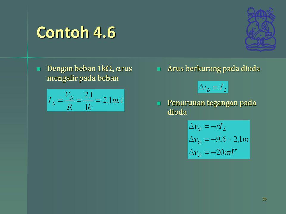 Contoh 4.6 Dengan beban 1kW, arus mengalir pada beban