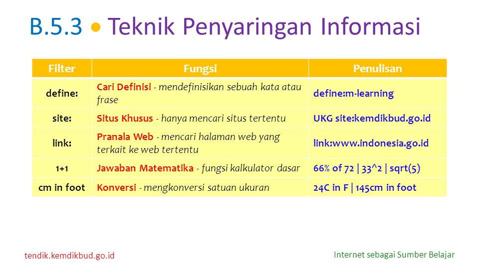 B.5.3  Teknik Penyaringan Informasi