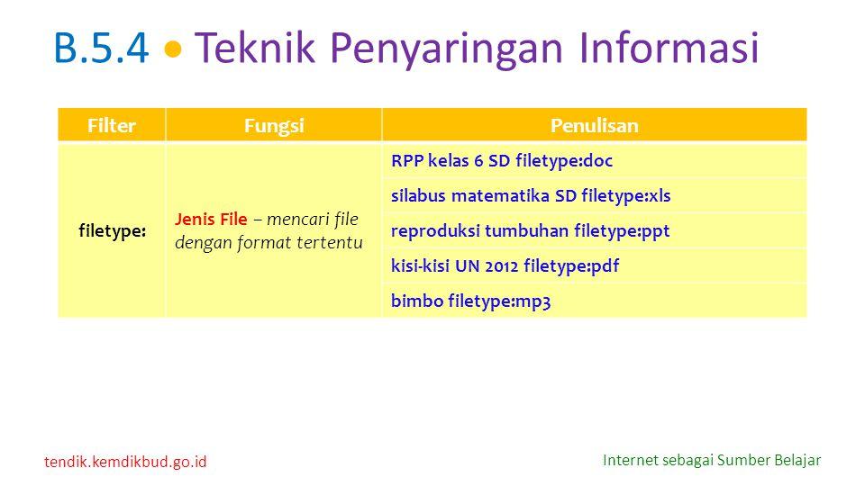 B.5.4  Teknik Penyaringan Informasi