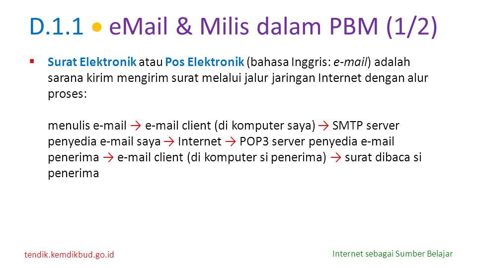 D.1.1  eMail & Milis dalam PBM (1/2)
