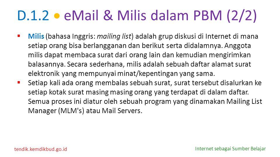 D.1.2  eMail & Milis dalam PBM (2/2)