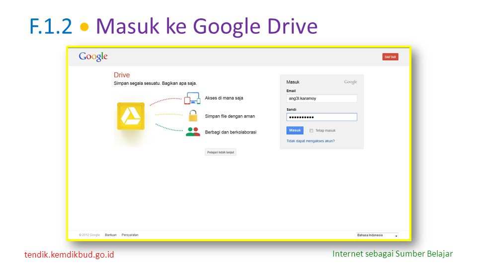 F.1.2  Masuk ke Google Drive