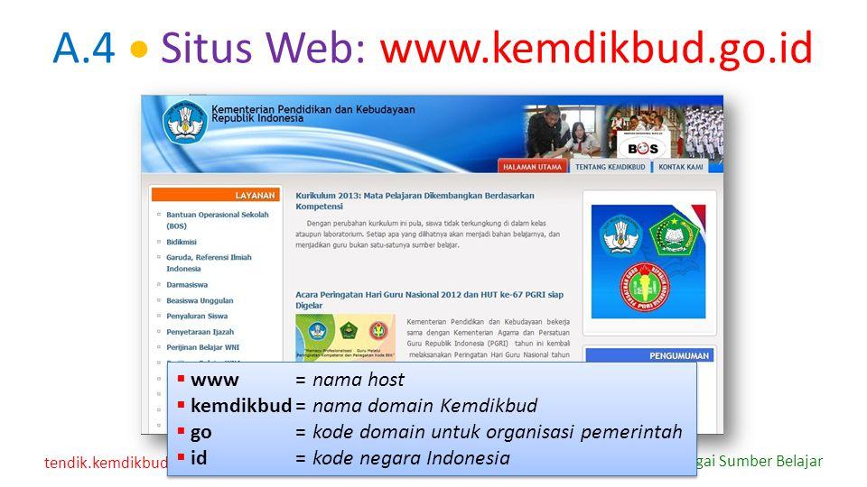 A.4  Situs Web: www.kemdikbud.go.id www = nama host. kemdikbud = nama domain Kemdikbud. go = kode domain untuk organisasi pemerintah.