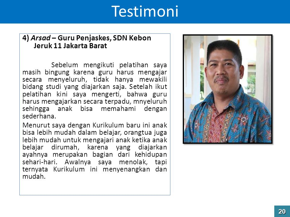 Testimoni 4) Arsad – Guru Penjaskes, SDN Kebon Jeruk 11 Jakarta Barat