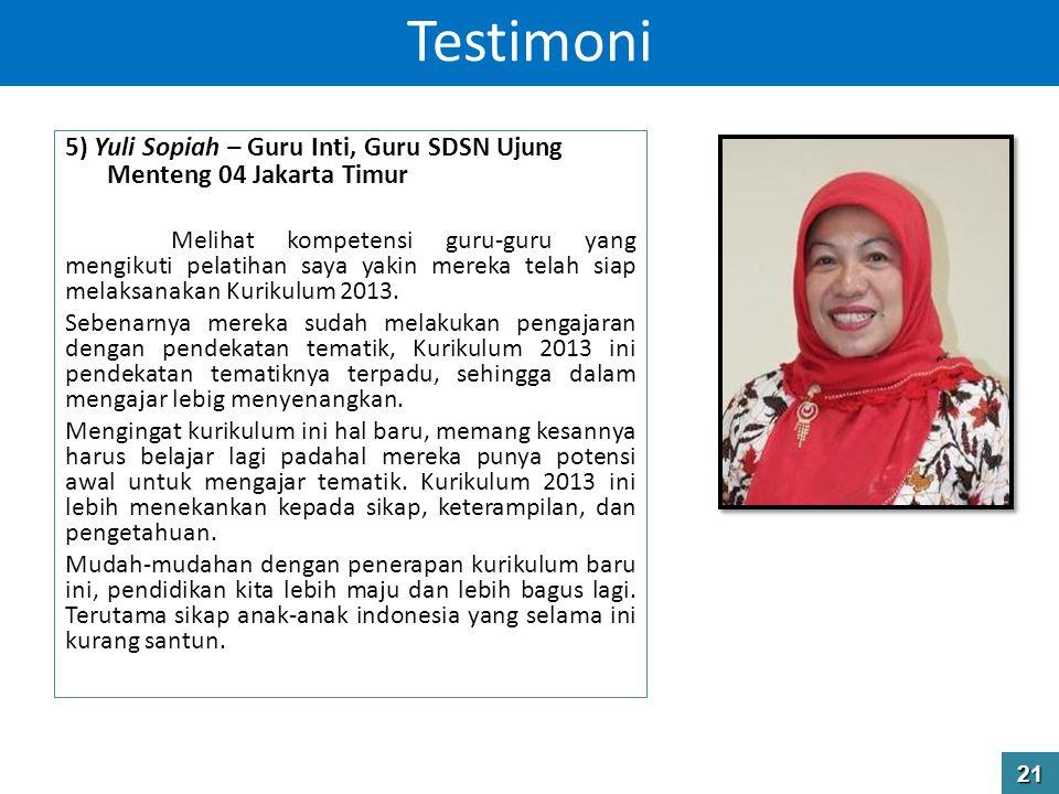 Testimoni 5) Yuli Sopiah – Guru Inti, Guru SDSN Ujung Menteng 04 Jakarta Timur.