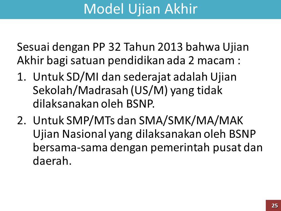 Model Ujian Akhir Sesuai dengan PP 32 Tahun 2013 bahwa Ujian Akhir bagi satuan pendidikan ada 2 macam :