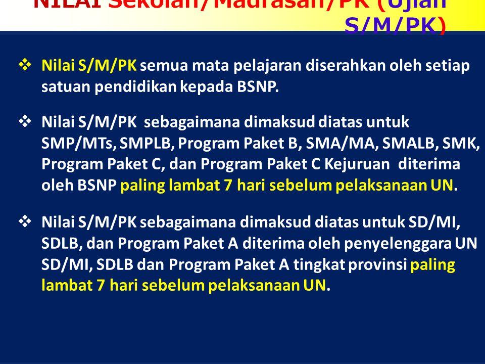 NILAI Sekolah/Madrasah/PK (Ujian S/M/PK)