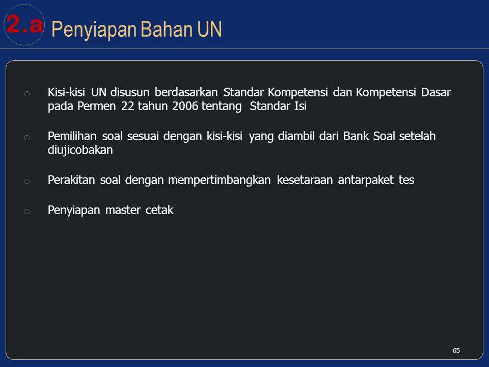 2.a Penyiapan Bahan UN. Kisi-kisi UN disusun berdasarkan Standar Kompetensi dan Kompetensi Dasar pada Permen 22 tahun 2006 tentang Standar Isi.