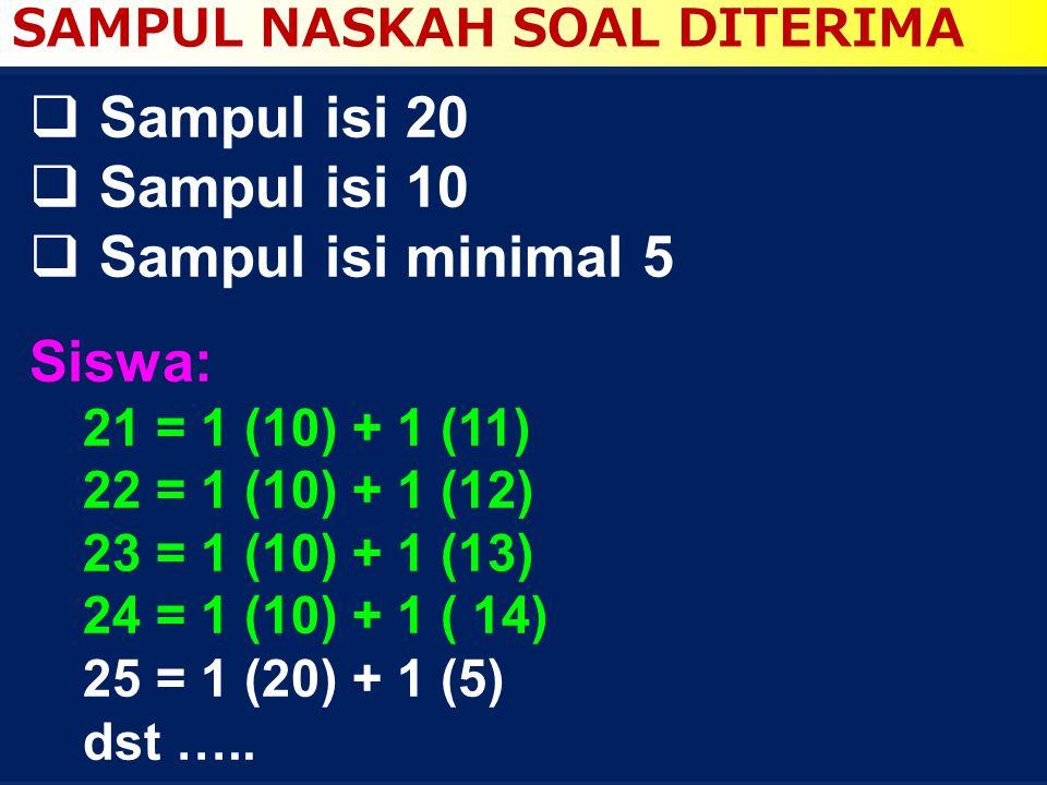 Sampul isi 20 Sampul isi 10 Sampul isi minimal 5 Siswa: