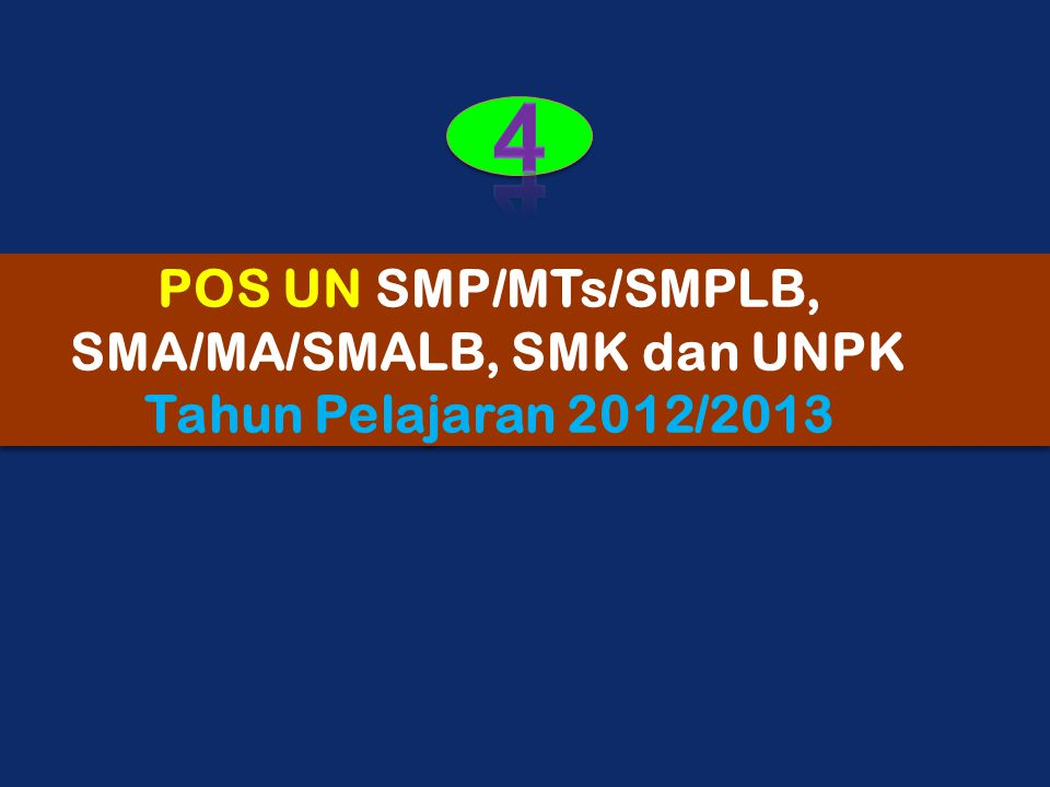POS UN SMP/MTs/SMPLB, SMA/MA/SMALB, SMK dan UNPK