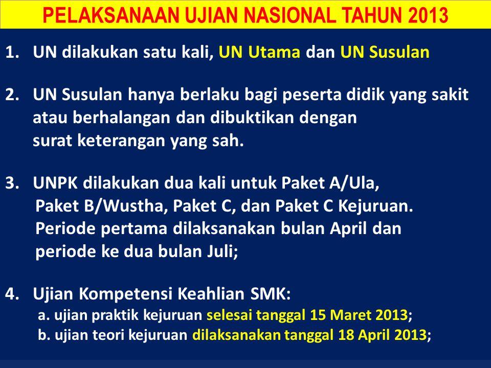 PELAKSANAAN UJIAN NASIONAL TAHUN 2013